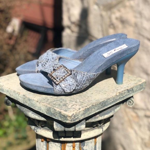 Vintage Shoes - Vintage light blue buckle mule heels, 7